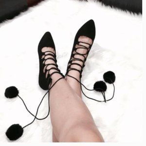 Shoes - Pom Pom Flats Black